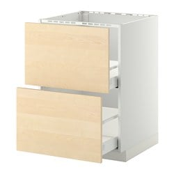 METOD /  MAXIMERA base cab f sink+2 fronts/2 drawers, Haganäs birch, white Width: 60.0 cm Depth: 61.6 cm Frame, depth: 60.0 cm
