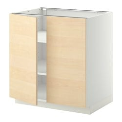 METOD base cabinet with shelves/2 doors, Haganäs birch, white Width: 80.0 cm Depth: 61.6 cm Frame, depth: 60.0 cm