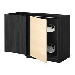 METOD corner base cab w pull-out fitting, Haganäs birch, black Width: 127.5 cm Depth: 67.5 cm Frame, height: 80.0 cm