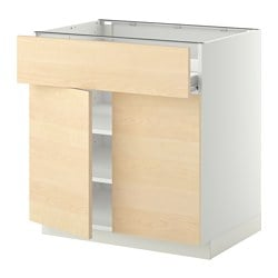 METOD /  FÖRVARA base cabinet/shelves/drawer/2 doors, white, Haganäs birch Width: 80.0 cm Depth: 61.6 cm Frame, depth: 60.0 cm