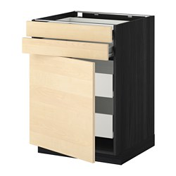 METOD base cb door/2 frnts/2 low/2 md drw, black, Haganäs birch Width: 60.0 cm Depth: 61.6 cm Frame, depth: 60.0 cm