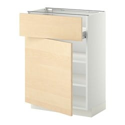 METOD /  FÖRVARA base cabinet w shelf/drawer/door, Haganäs birch, white Width: 60.0 cm Depth: 39.2 cm Frame, depth: 37.0 cm