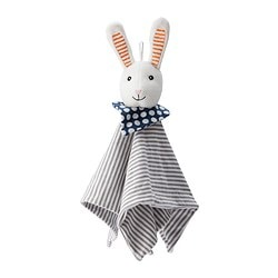 LEKA comfort blanket with soft toy, rabbit