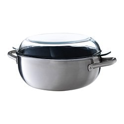 IKEA 365+ casserole with lid, clear glass, stainless steel Length: 40 cm Width: 25 cm Height: 16 cm