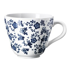 JÄMNT mug, dark blue, white Height: 10 cm Volume: 40 cl