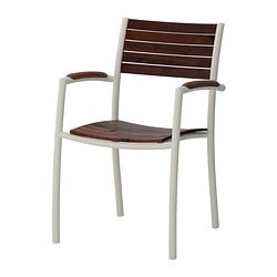 VINDALSÖ chair with armrests, outdoor, brown stained eucalyptus, white Width: 54 cm Depth: 56 cm Seat width: 40 cm