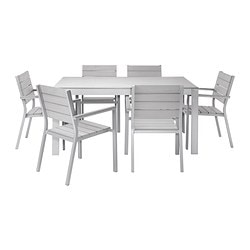 FALSTER table+6 chairs w armrests, outdoor, grey