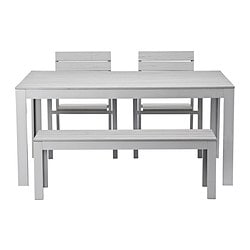 FALSTER table+2 chairs+ bench, outdoor, grey