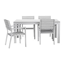 FALSTER table+4 chairs w armrests, outdoor, grey