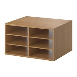 KOMPLEMENT sectioned shelves, oak effect Width: 75.0 cm Depth: 58.0 cm Height: 40 cm