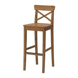 INGOLF bar stool with backrest, antique stain Tested for: 110 kg Width: 40 cm Depth: 45 cm