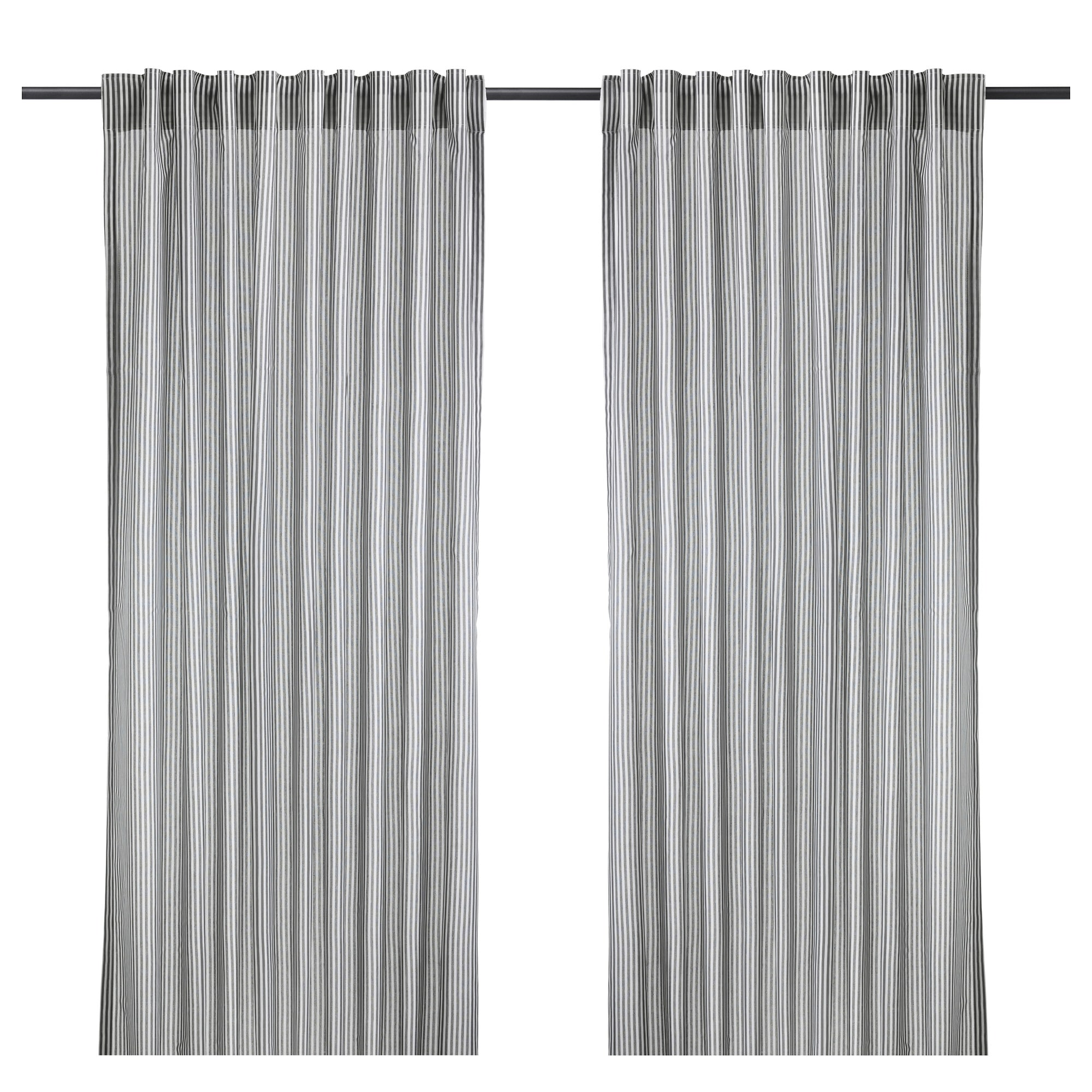 Mini curtain rods - Gulsporre Curtains 1 Pair White Gray Length 98 Width 57