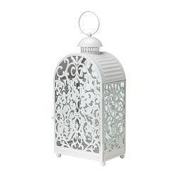 GOTTGÖRA lantern for block candle, white in/outdoor white Height: 48 cm