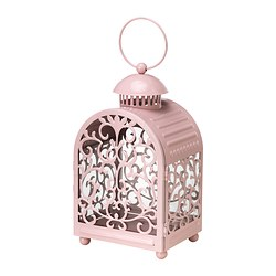 GOTTGÖRA lantern for candle in metal cup, light pink in/outdoor light pink Height: 26 cm