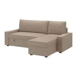 VILASUND sofa bed with chaise longue, Dansbo beige Width: 240 cm Min. depth: 88 cm Max. depth: 150 cm