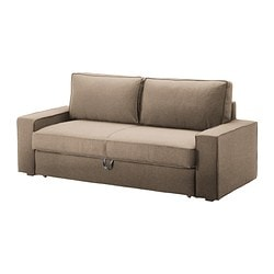 VILASUND three-seat sofa-bed, Dansbo beige Width: 202 cm Depth: 88 cm Back height: 46 cm