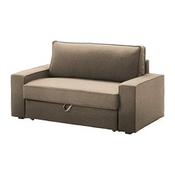 VILASUND two-seat sofa-bed, Dansbo beige Width: 162 cm Depth: 88 cm Back height: 46 cm
