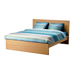 MALM bed frame, high, Luröy, oak veneer Length: 199 cm Headboard height: 100 cm Height: 38 cm