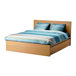 MALM bed frame, high, w 4 storage boxes, Luröy, oak veneer Length: 199 cm Width: 150 cm Headboard height: 100 cm