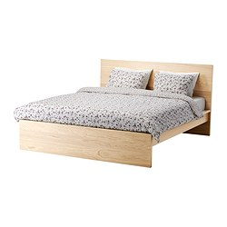 MALM bed frame, high, white stained oak veneer, Luröy Length: 211 cm Width: 168 cm Footboard height: 38 cm