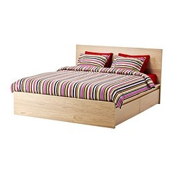 MALM bed frame, high, w 4 storage boxes, Luröy, white stained oak veneer Length: 209 cm Width: 166 cm Footboard height: 38 cm
