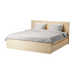 "MALM high bed frame/4 storage boxes, Luröy, birch veneer Length: 83 1/8 "" Width: 66 1/8 "" Footboard height: 15 "" Length: 211 cm Width: 168 cm Footboard height: 38 cm"