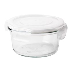 "FÖRTROLIG food container, clear glass Diameter: 5 "" Height: 3 "" Volume: 14 oz Diameter: 12 cm Height: 7 cm Volume: 0.4 l"
