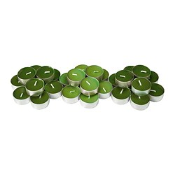 SINNLIG scented tealight, green, Crisp apple Diameter: 38 mm Burning time: 4 hr Package quantity: 30 pack