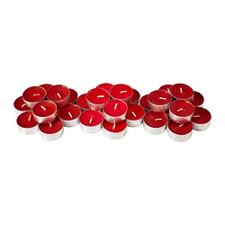 SINNLIG scented tealight, red, Sweet berries Diameter: 38 mm Burning time: 4 hr Package quantity: 30 pack