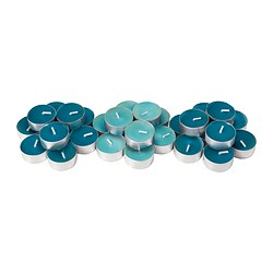 SINNLIG scented tealight, turquoise, Beach breeze Diameter: 38 mm Burning time: 4 hr Package quantity: 30 pack
