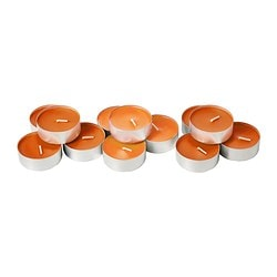 SINNLIG scented candle in metal cup, orange, Tangerine sunshine Diameter: 59 mm Burning time: 9 hr Package quantity: 12 pack
