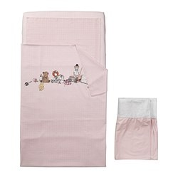 "NANIG 4-piece bed linen set for crib, pink Duvet cover length: 49 1/4 "" Duvet cover width: 43 1/4 "" Pillowcase length: 21 5/8 "" Duvet cover length: 125 cm Duvet cover width: 110 cm Pillowcase length: 55 cm"