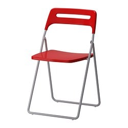 NISSE folding chair, silver-colour/red Tested for: 100 kg Width: 45 cm Depth: 47 cm