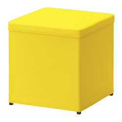 BOSNÄS footstool with storage, Ransta yellow Length: 36 cm Width: 36 cm Height: 36 cm