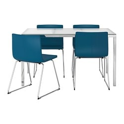 TORSBY /  BERNHARD table and 4 chairs, Kavat blue, glass white Length: 135 cm Width: 85 cm Height: 73 cm