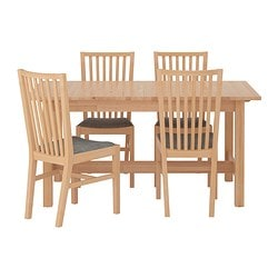 NORDEN / NORRNÄS, Table and 4 chairs, birch, Isunda gray