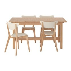 NORDEN /  NORDMYRA table and 4 chairs, white, birch Length: 155 cm Max. length: 210 cm Width: 90 cm