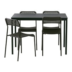 TÄRENDÖ / ADDE, Table and 4 chairs, black