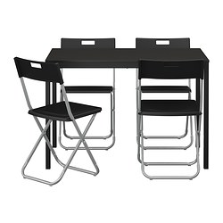 TÄRENDÖ / GUNDE, Table and 4 chairs, black