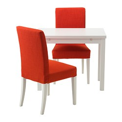 BJURSTA /  HENRIKSDAL table and 2 chairs, Skiftebo orange, white Length: 70 cm Min. length: 50 cm Max. length: 90 cm