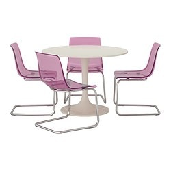 DOCKSTA /  TOBIAS table and 4 chairs, lilac, white Diameter: 105 cm Height: 75 cm