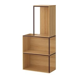 "IKEA PS 2014 storage combination with top, dark red, bamboo Min. width: 13 3/4 "" Max. width: 23 5/8 "" Depth: 11 3/4 "" Min. width: 35 cm Max. width: 60 cm Depth: 30 cm"