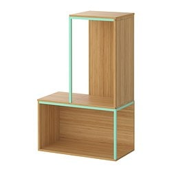 "IKEA PS 2014 storage combination with top, light green, bamboo Min. width: 13 3/4 "" Max. width: 23 5/8 "" Depth: 11 3/4 "" Min. width: 35 cm Max. width: 60 cm Depth: 30 cm"