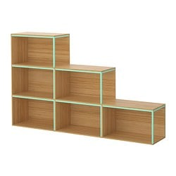 "IKEA PS 2014 storage combination with top, light green, bamboo Min. width: 23 5/8 "" Max. width: 70 7/8 "" Depth: 11 3/4 "" Min. width: 60 cm Max. width: 180 cm Depth: 30 cm"