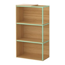 "IKEA PS 2014 storage combination with top, light green, bamboo Width: 23 5/8 "" Depth: 11 3/4 "" Height: 41 3/8 "" Width: 60 cm Depth: 30 cm Height: 105 cm"