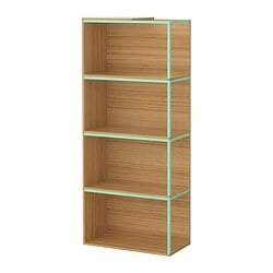 "IKEA PS 2014 storage combination with top, light green, bamboo Width: 23 5/8 "" Depth: 11 3/4 "" Height: 55 1/8 "" Width: 60 cm Depth: 30 cm Height: 140 cm"