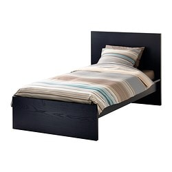 malm bed frame high black brown length 79 18 - Twin Bed And Frame