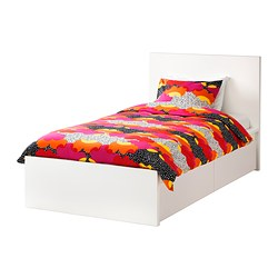 MALM bed frame, high, w 2 storage boxes, Leirsund, white Length: 199 cm Width: 106 cm Footboard height: 38 cm