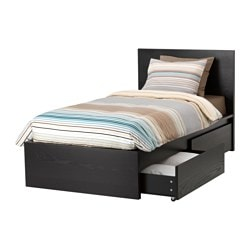 MALM bed frame, high, w 2 storage boxes, Lönset, black-brown Length: 199 cm Width: 106 cm Footboard height: 38 cm