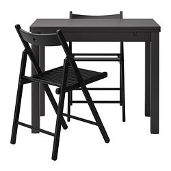 BJURSTA /  TERJE table and 2 chairs, black, brown-black Length: 70 cm Min. length: 50 cm Max. length: 90 cm